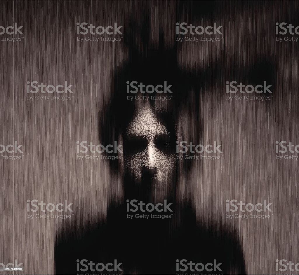 Woman Ghost. Motion Blur, Black and White vector art illustration