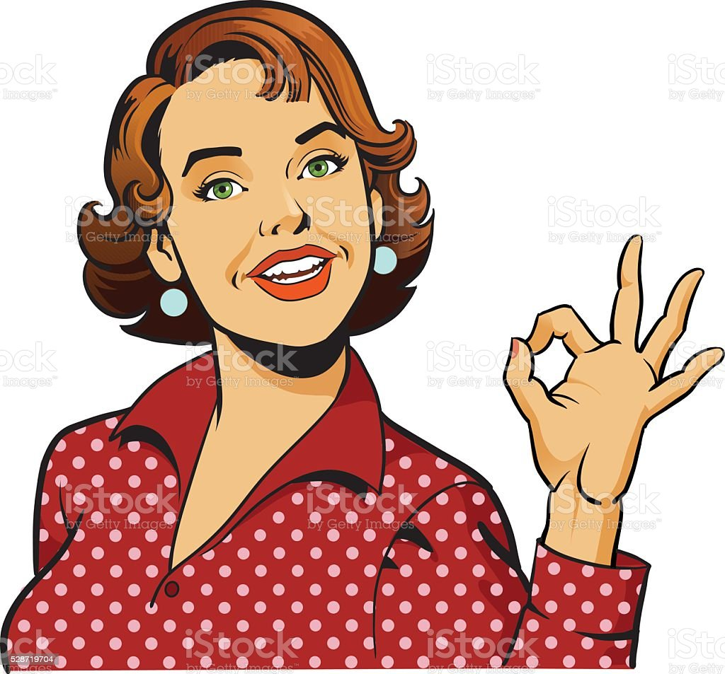 Woman Giving OK Gesture - Retro Girl vector art illustration