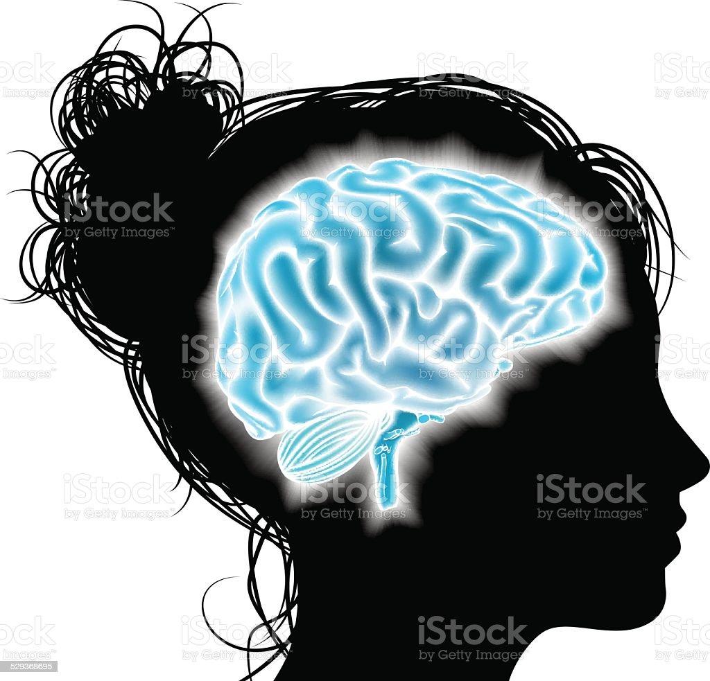 Woman glowing brain concept vector art illustration