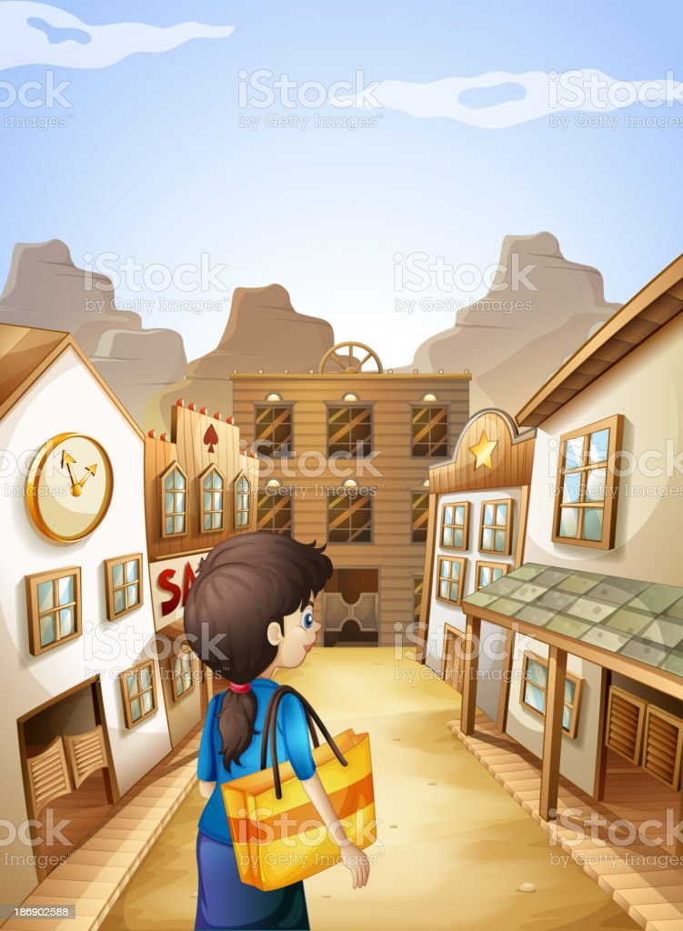 woman going to the saloon bar vector art illustration