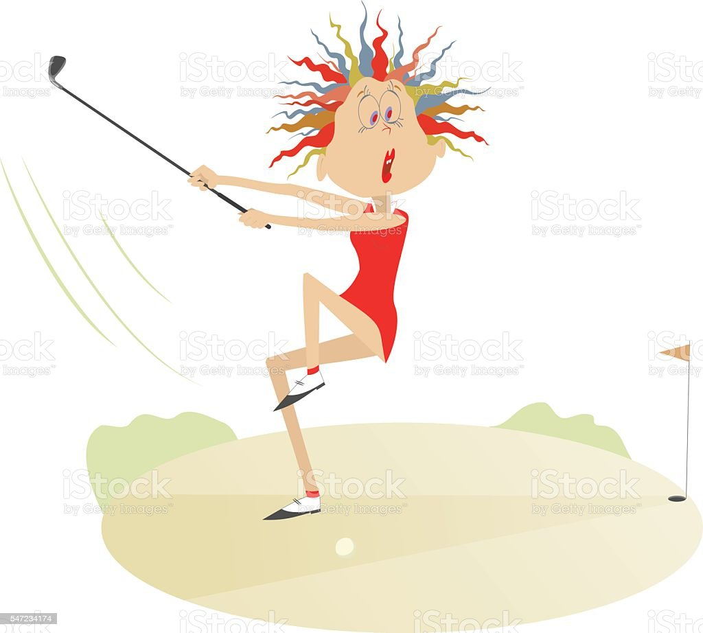 Woman golf player vector art illustration