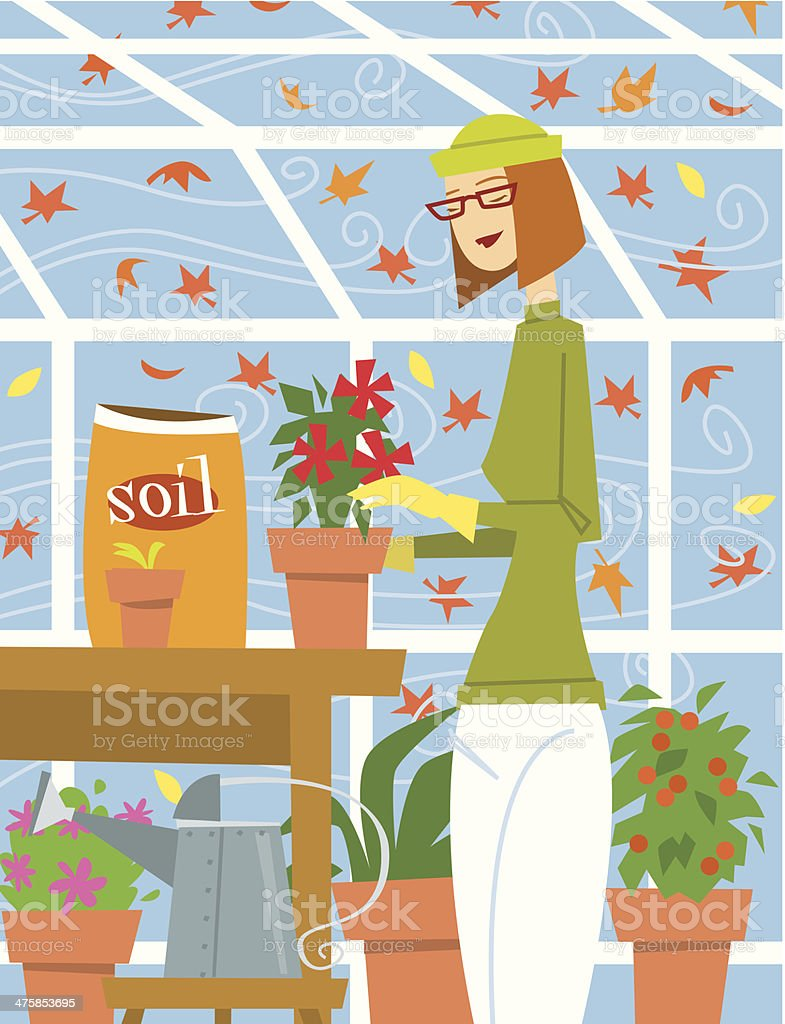 Woman Greenhouse C royalty-free stock vector art