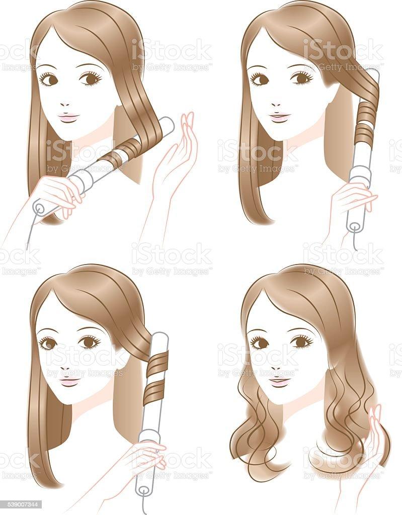 Woman hair blow vector art illustration