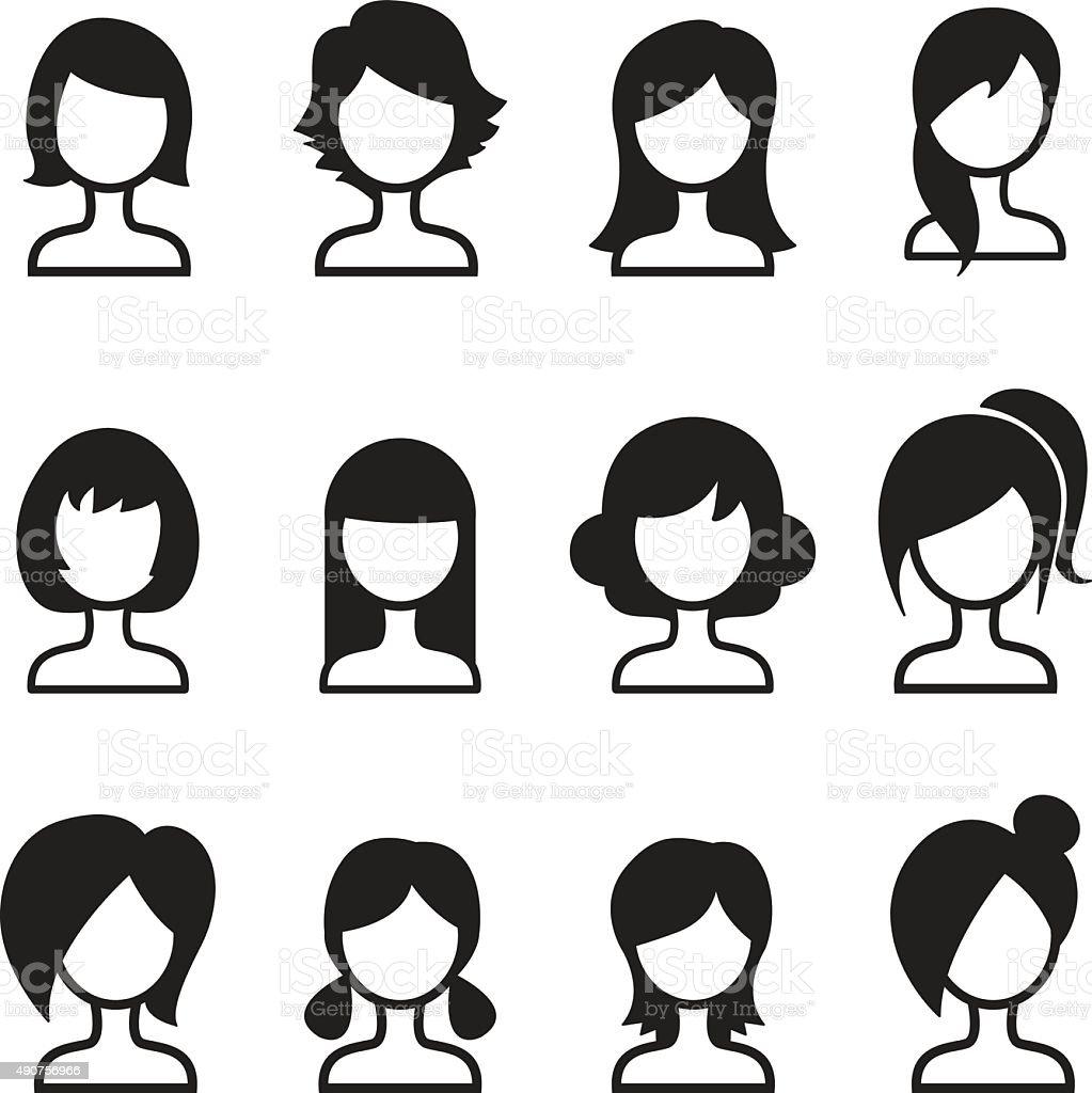 Woman hair style icon Set vector art illustration