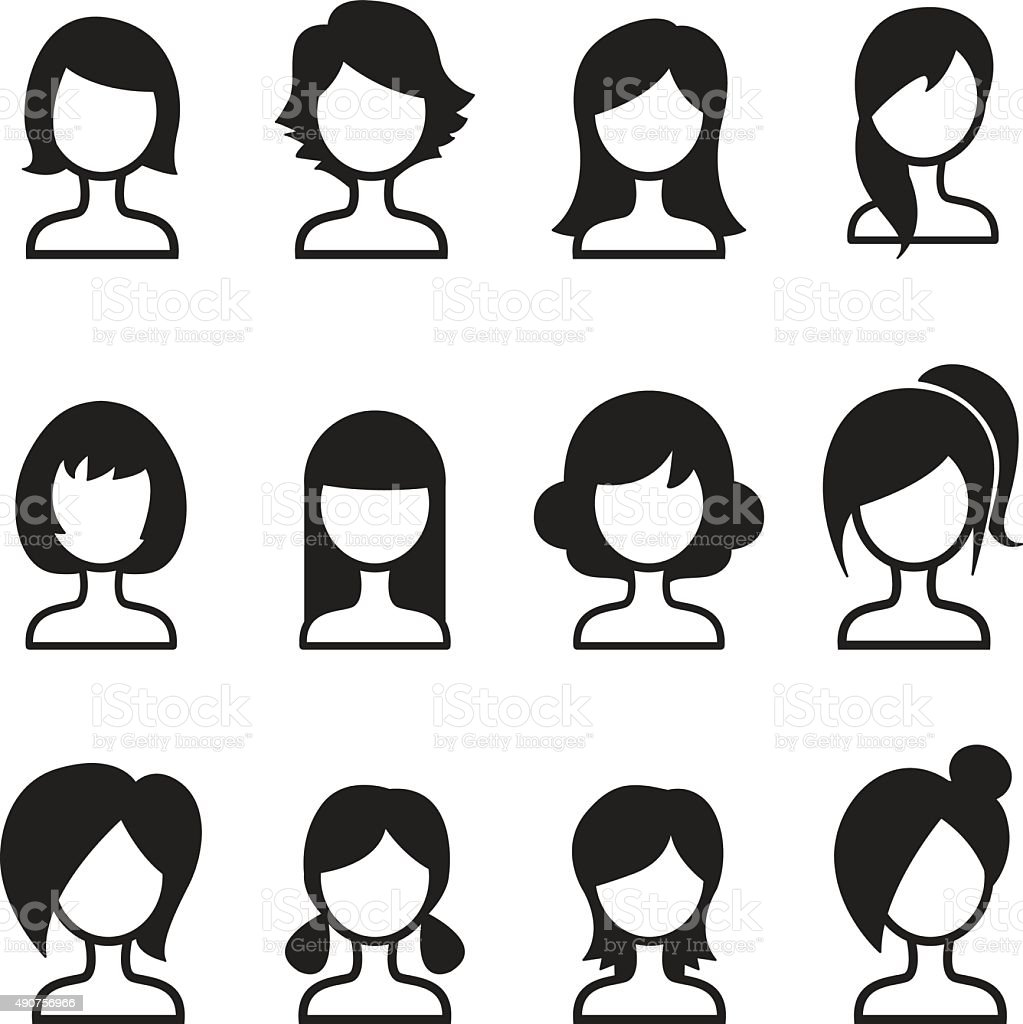 Woman hair style icon Set vector art illustration