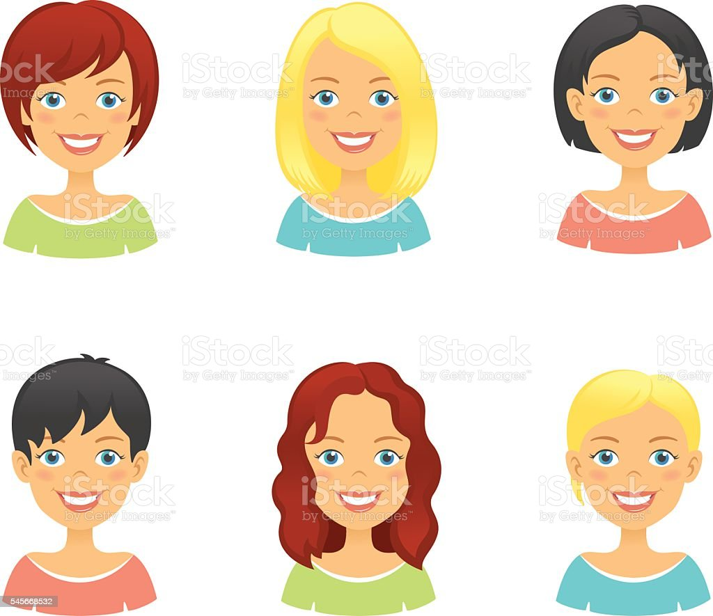 Woman hair styles of different types and colors vector art illustration