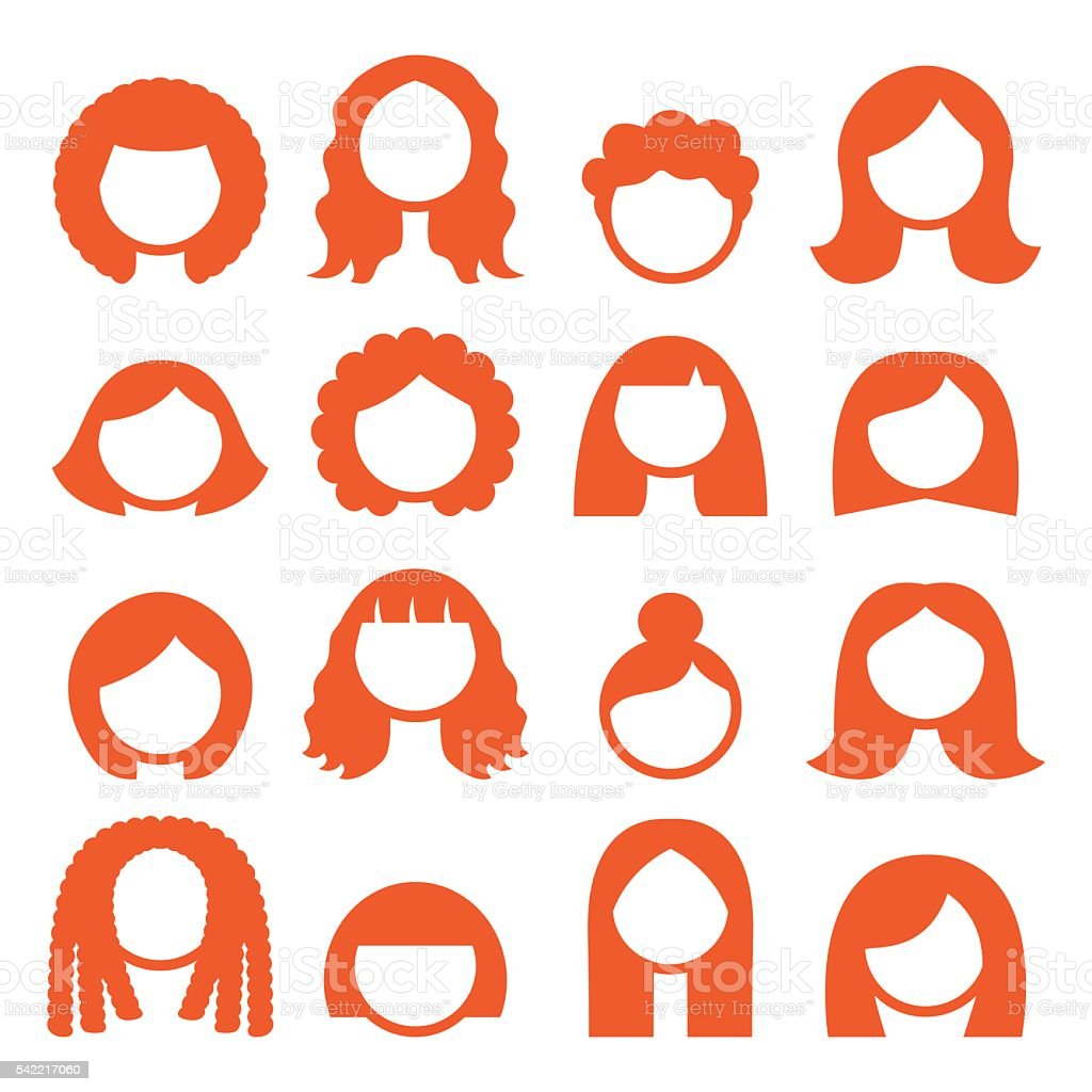 Woman hair styles, wigs icons - ginger vector art illustration