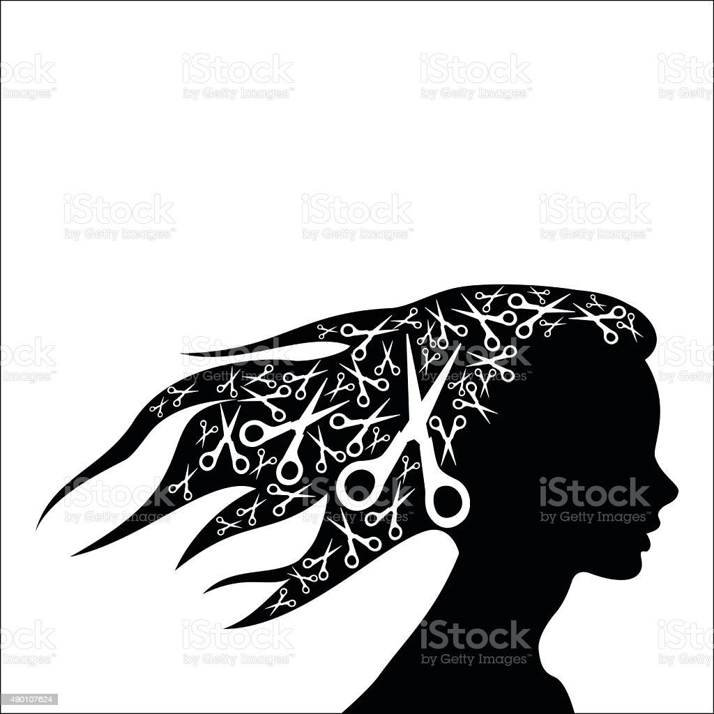 Woman hair with scissors royalty-free stock vector art