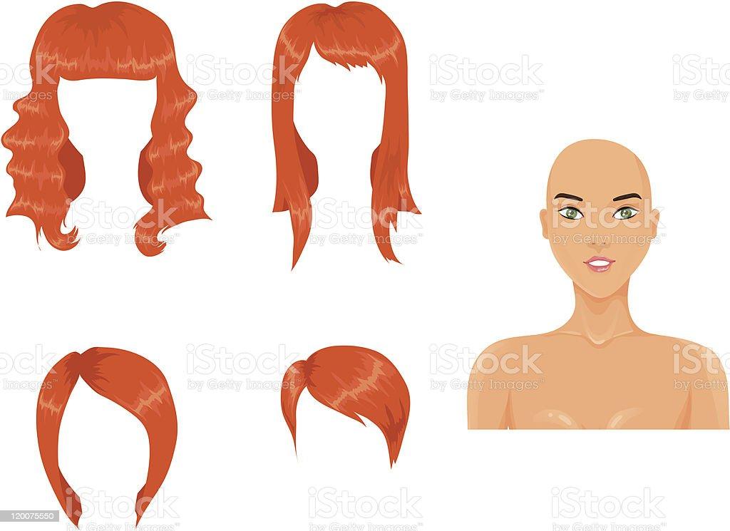 Woman haircuts. Redhead royalty-free stock vector art