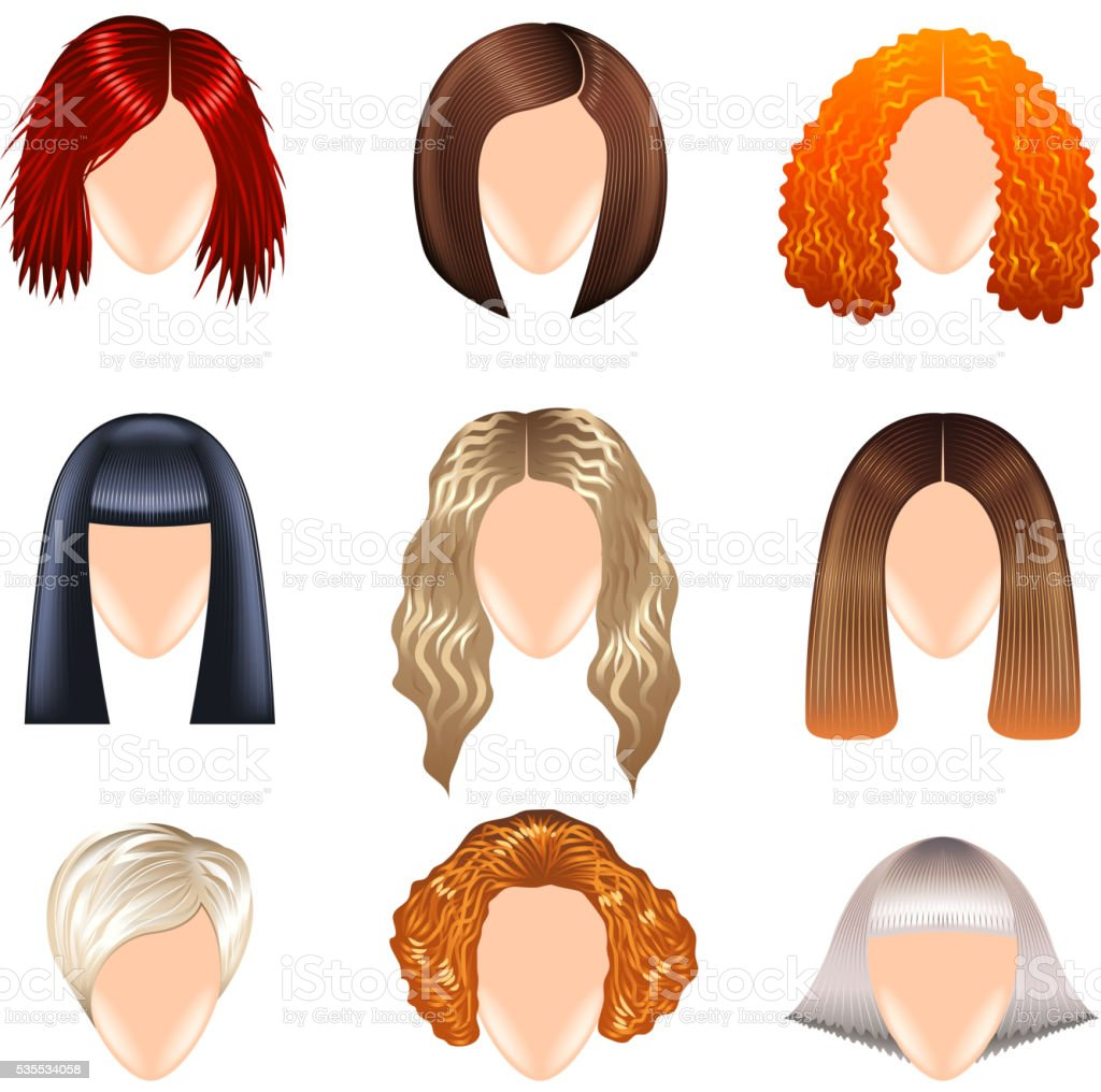 Woman hairstyle icons vector set vector art illustration