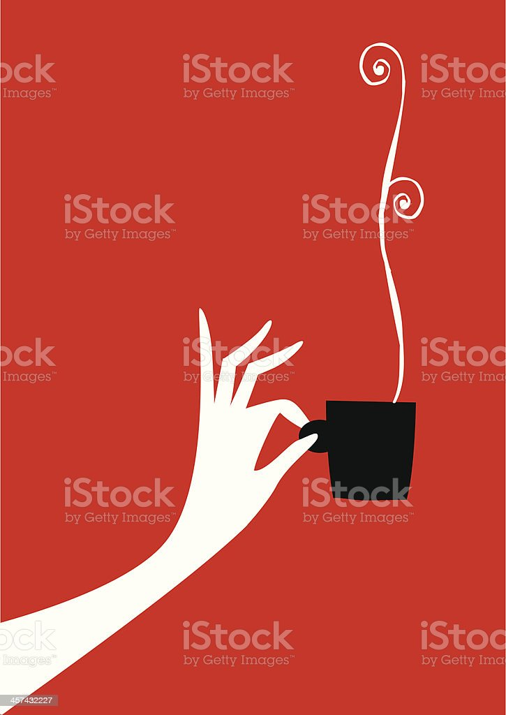 Woman hand with cup of coffee or tea. vector art illustration