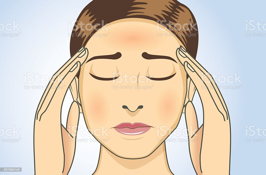 Woman have headaches and fever. vector art illustration