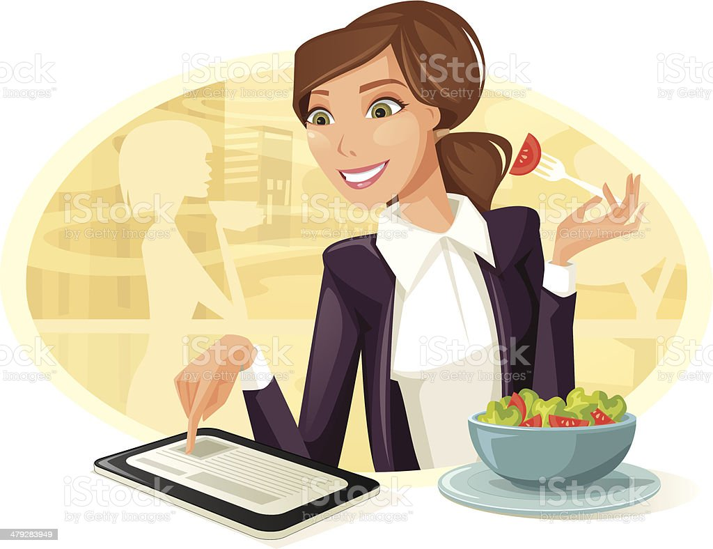 Woman Having Lunch While Using Tablet Computer vector art illustration