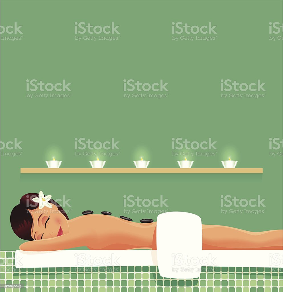 Woman having stone therapy spa session royalty-free stock vector art
