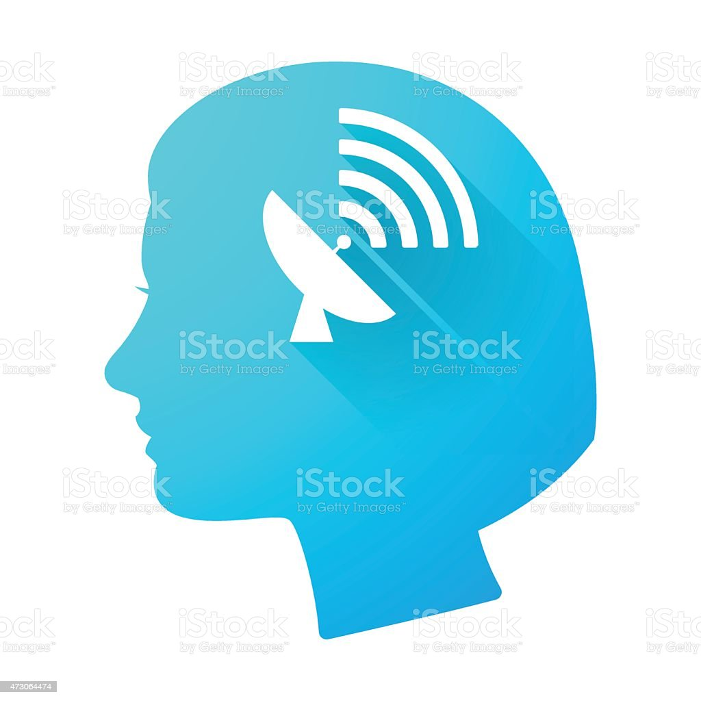 Woman head icon with an antenna vector art illustration