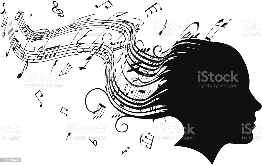 Woman head profile hair music concept royalty-free stock vector art