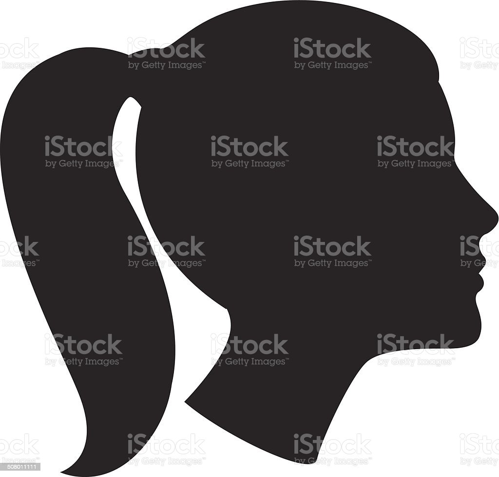 Woman head silhouette vector art illustration