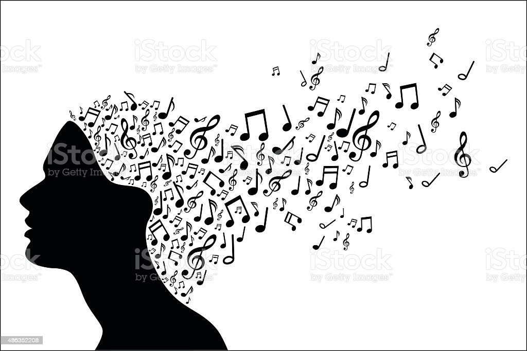Woman head silhouette with music notes royalty-free stock vector art