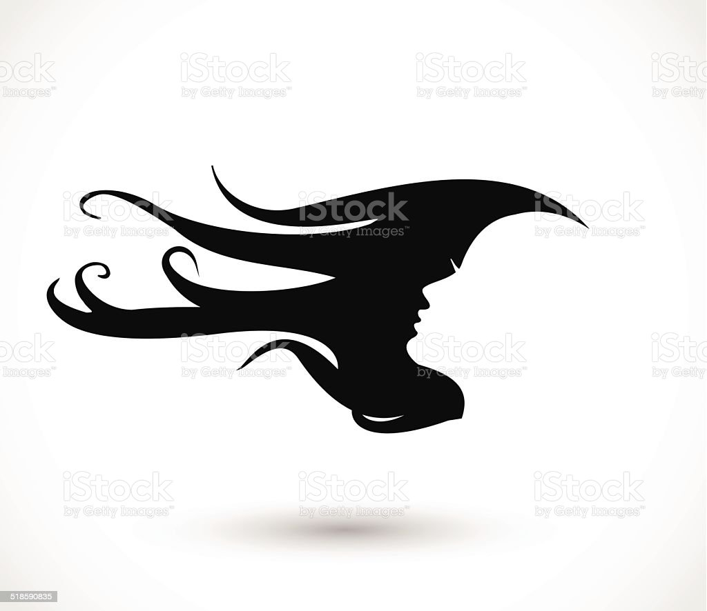Woman head with beautiful long hair icon vector vector art illustration