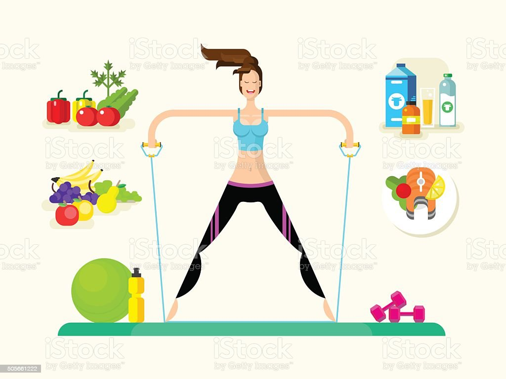 Woman healthy llifestyle vector art illustration