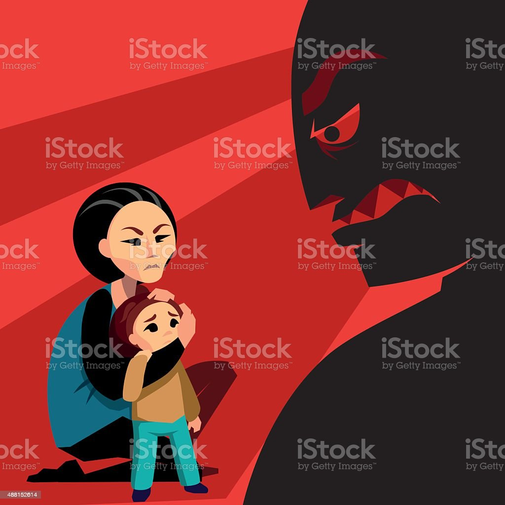 Woman hides the child from male silhouette vector art illustration