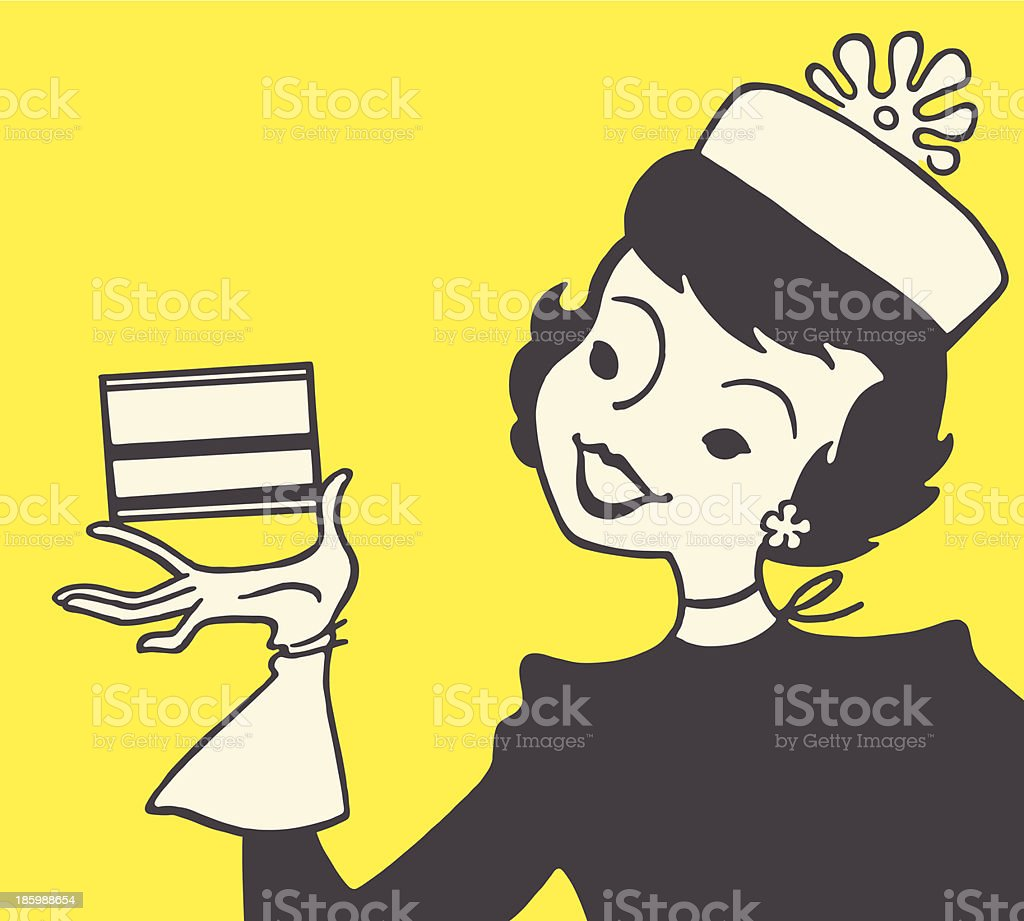 Woman Holding a Box royalty-free stock vector art