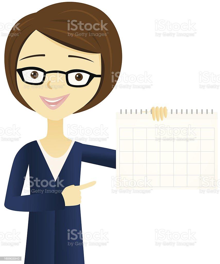 Woman Holding a Calendar vector art illustration