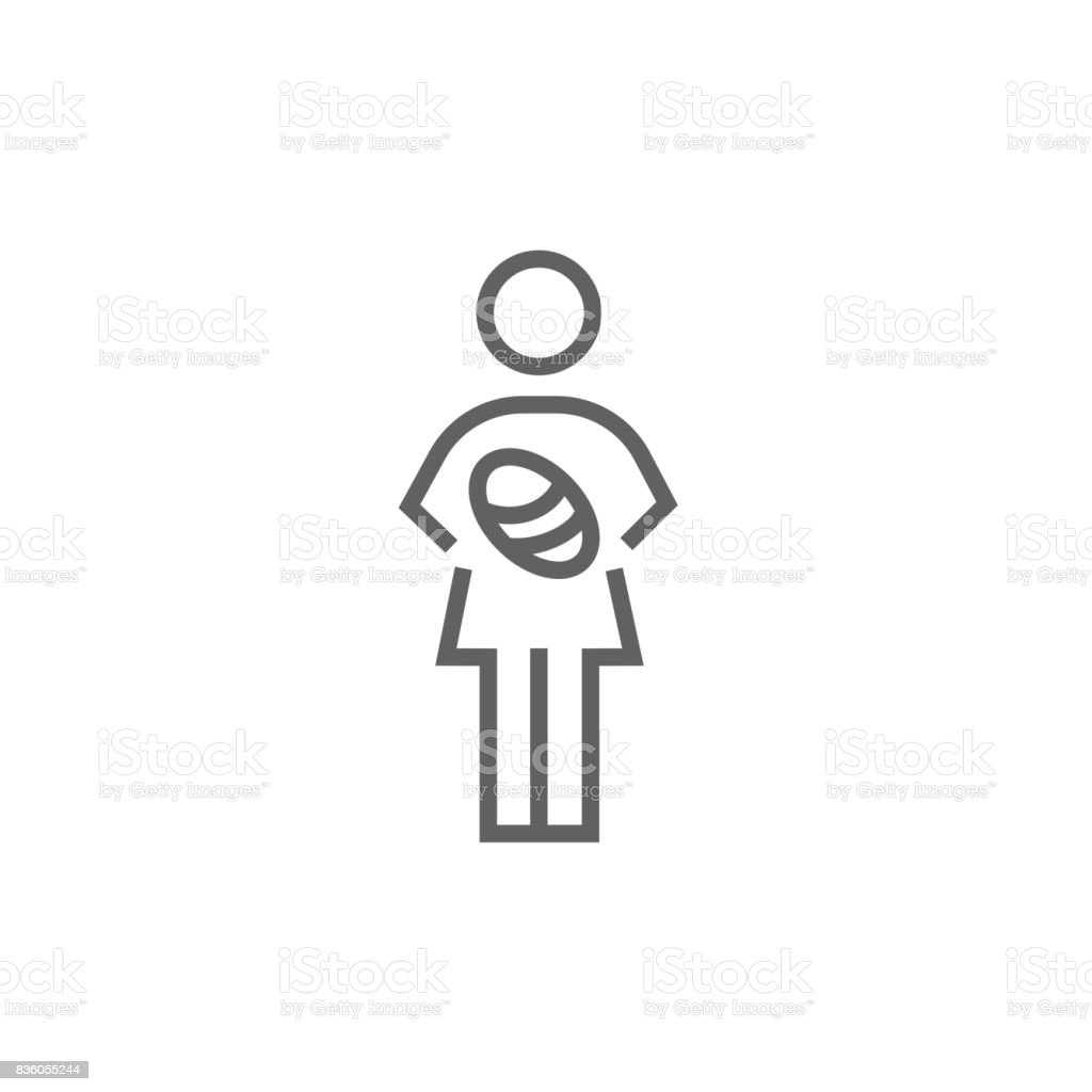 Woman holding baby line icon vector art illustration