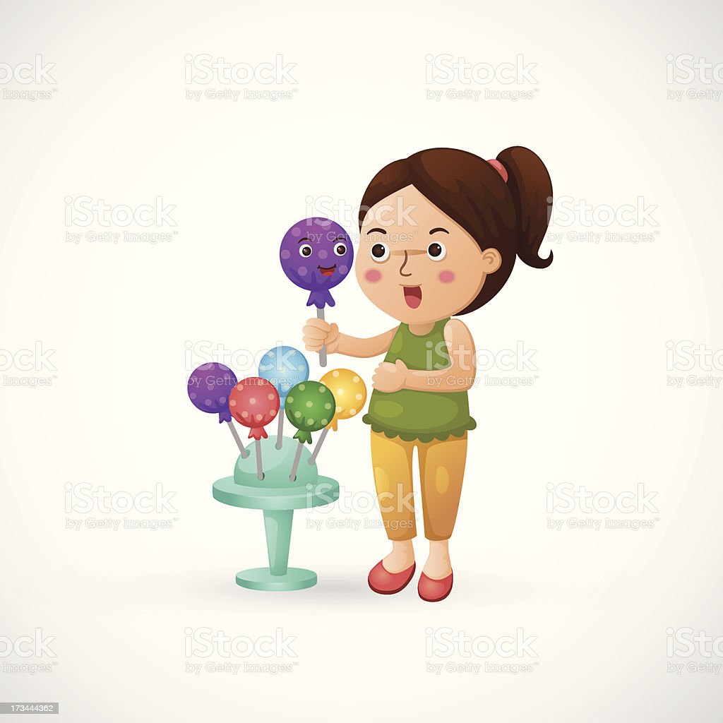 woman holding candy royalty-free stock vector art