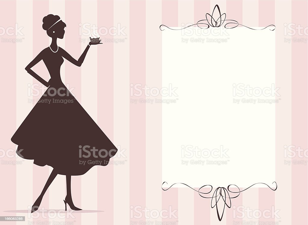 Woman holding cupcake vector art illustration
