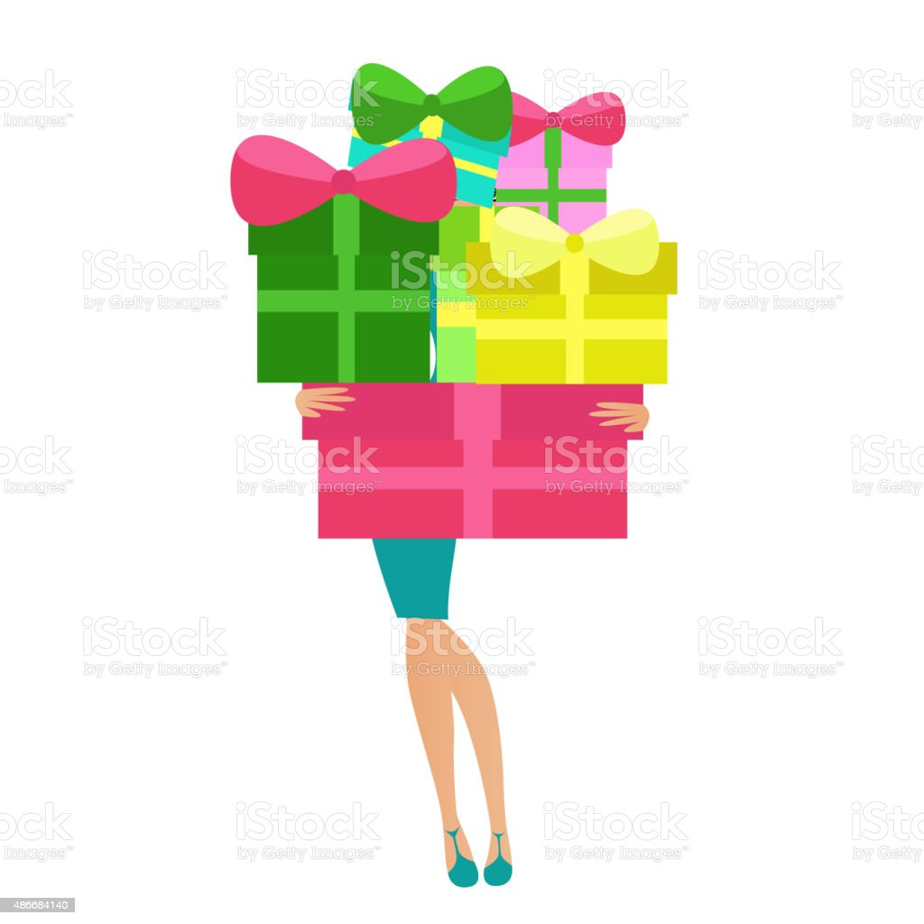 Woman holding gift boxes vector art illustration