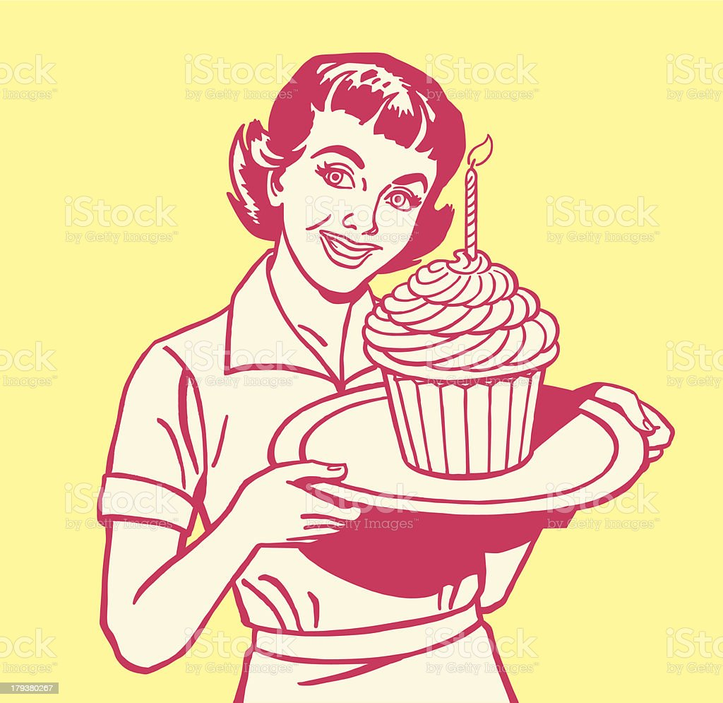 Woman Holding Large Cupcake royalty-free stock vector art