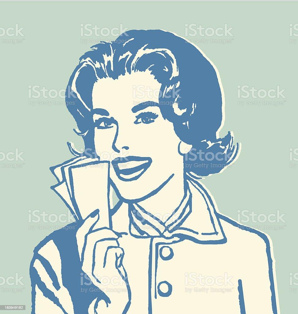 Woman Holding Money vector art illustration