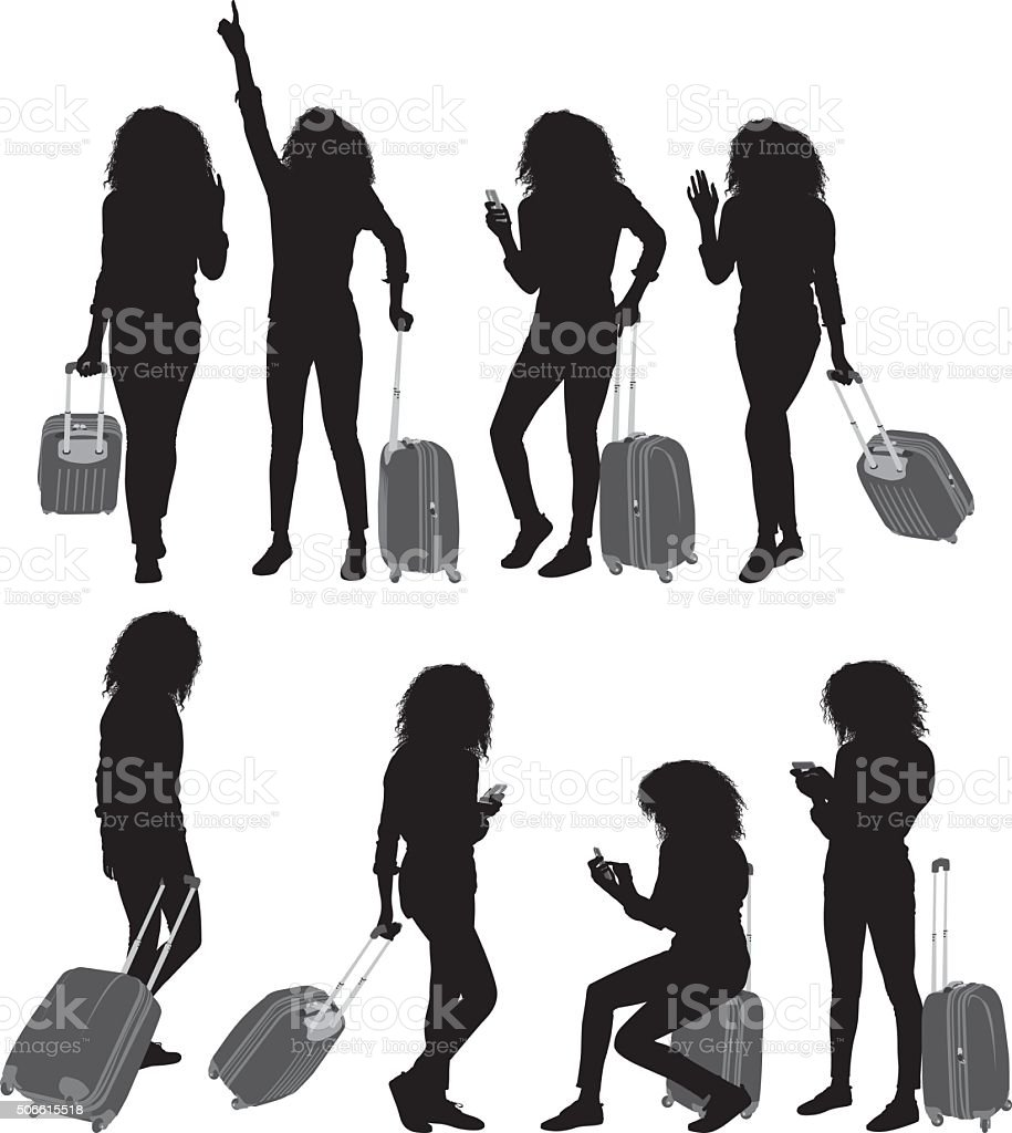 Woman holding trolley bag and in various actions vector art illustration