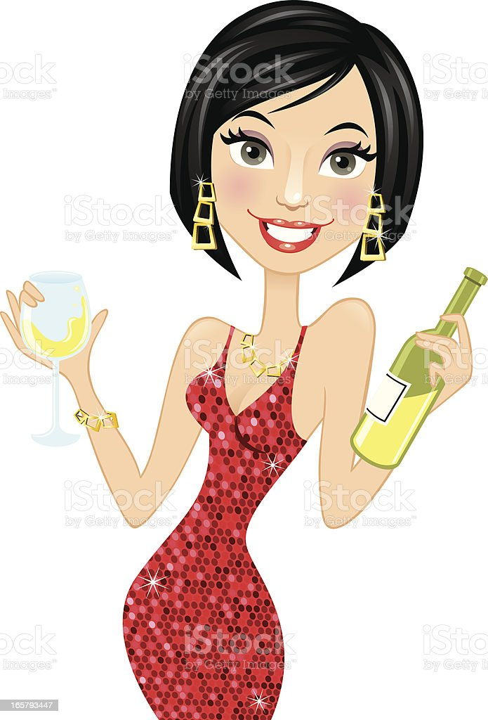 Woman holding white wine vector art illustration