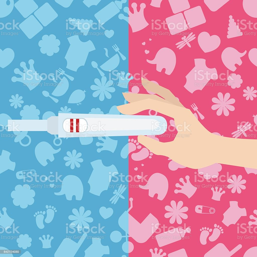 Woman holds a pregnancy test in her hand vector art illustration
