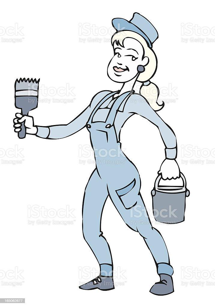 Woman house painter vector art illustration
