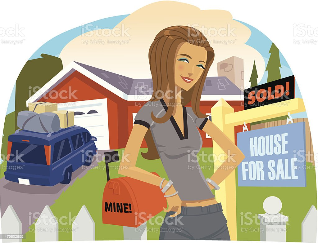Woman House Sold C royalty-free stock vector art