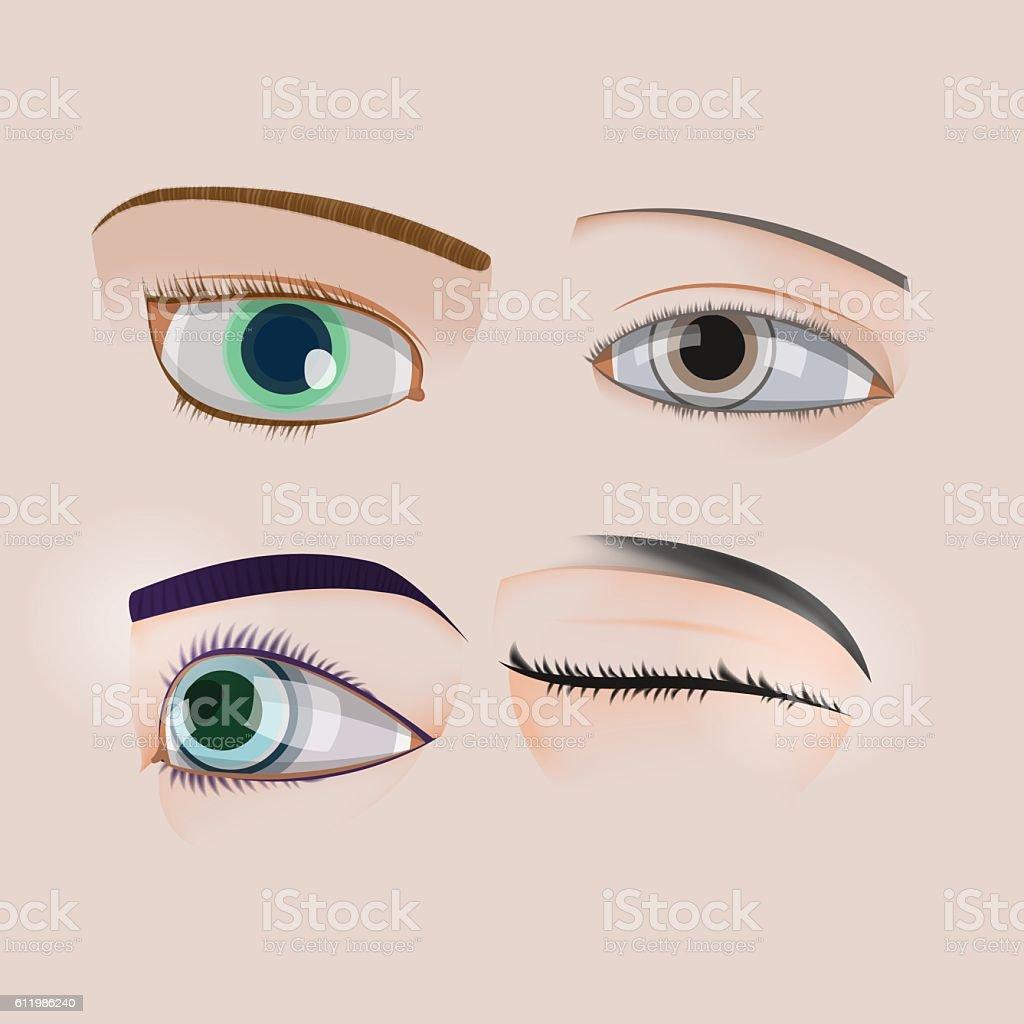 Woman Human Eye Set Collection Vector vector art illustration