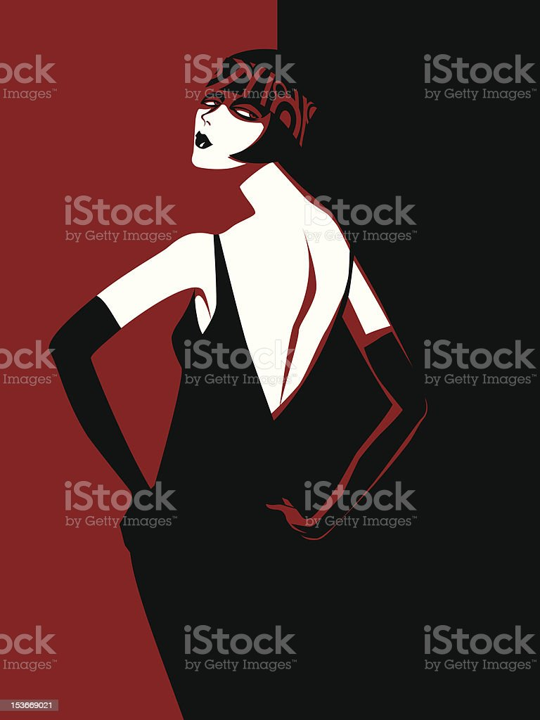 woman in a black dress royalty-free stock vector art