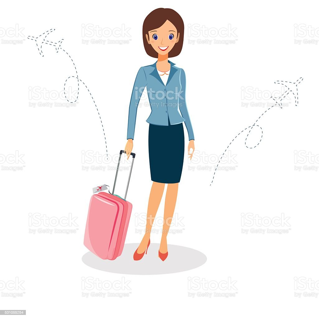 Woman in a business suit with luggage. Business travel concept vector art illustration