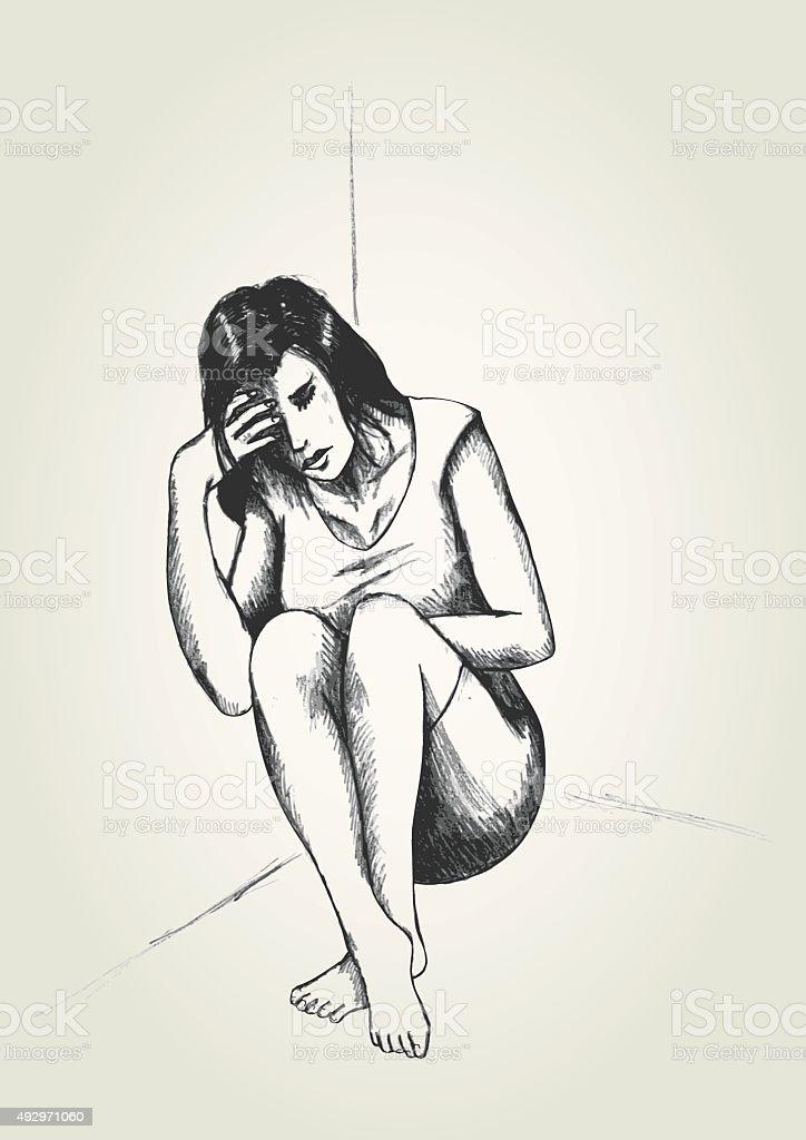 Woman In A Corner vector art illustration