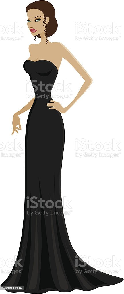 Woman in an Elegant Black Gown royalty-free stock vector art