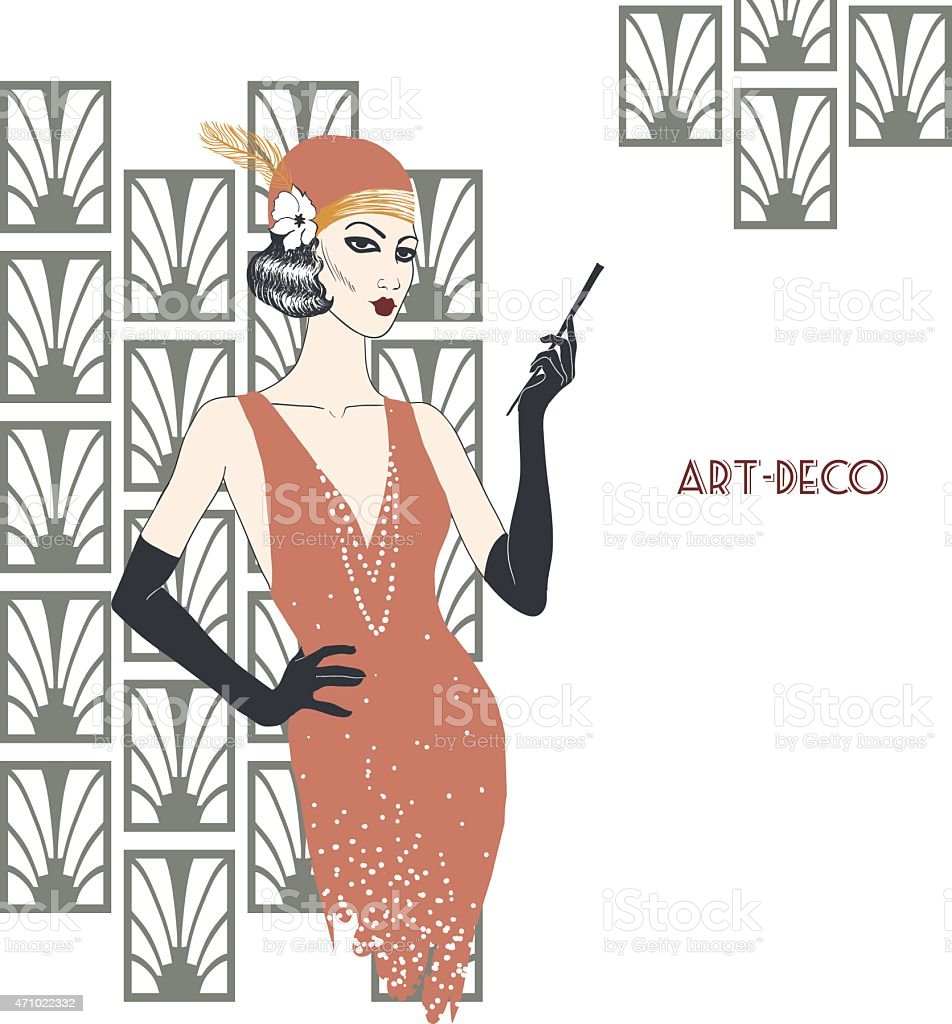 Woman in art deco style. vector art illustration