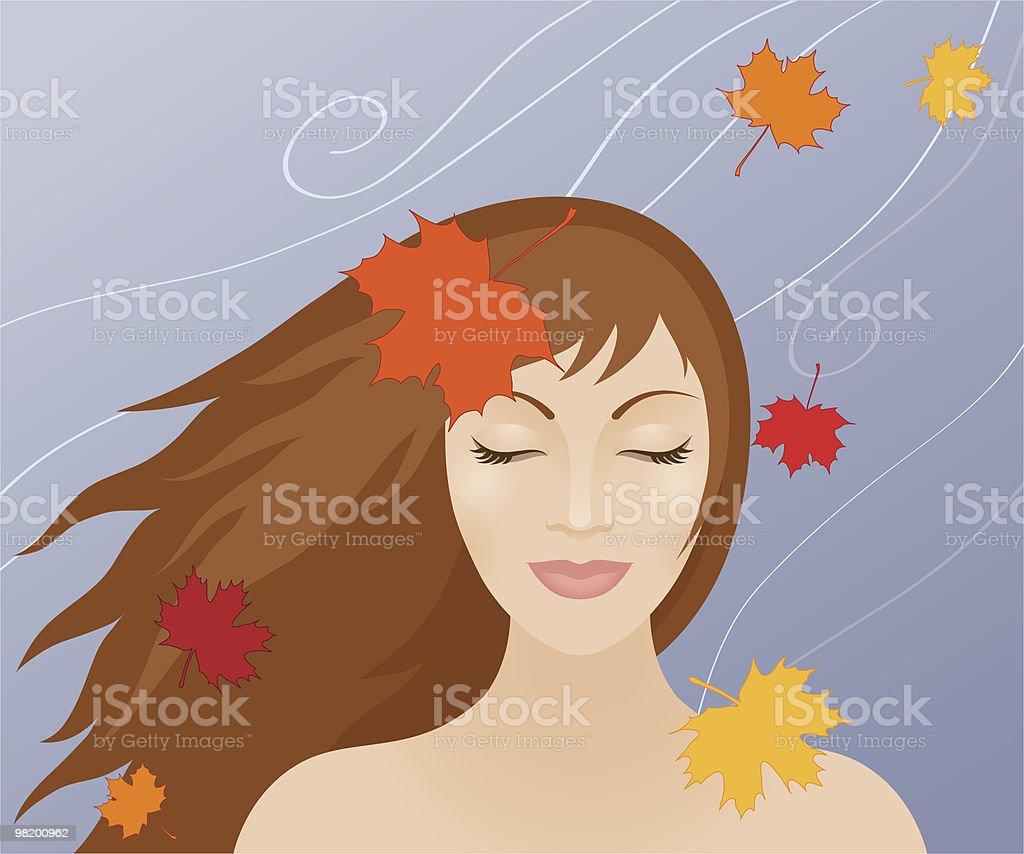 Woman in autumn royalty-free stock vector art