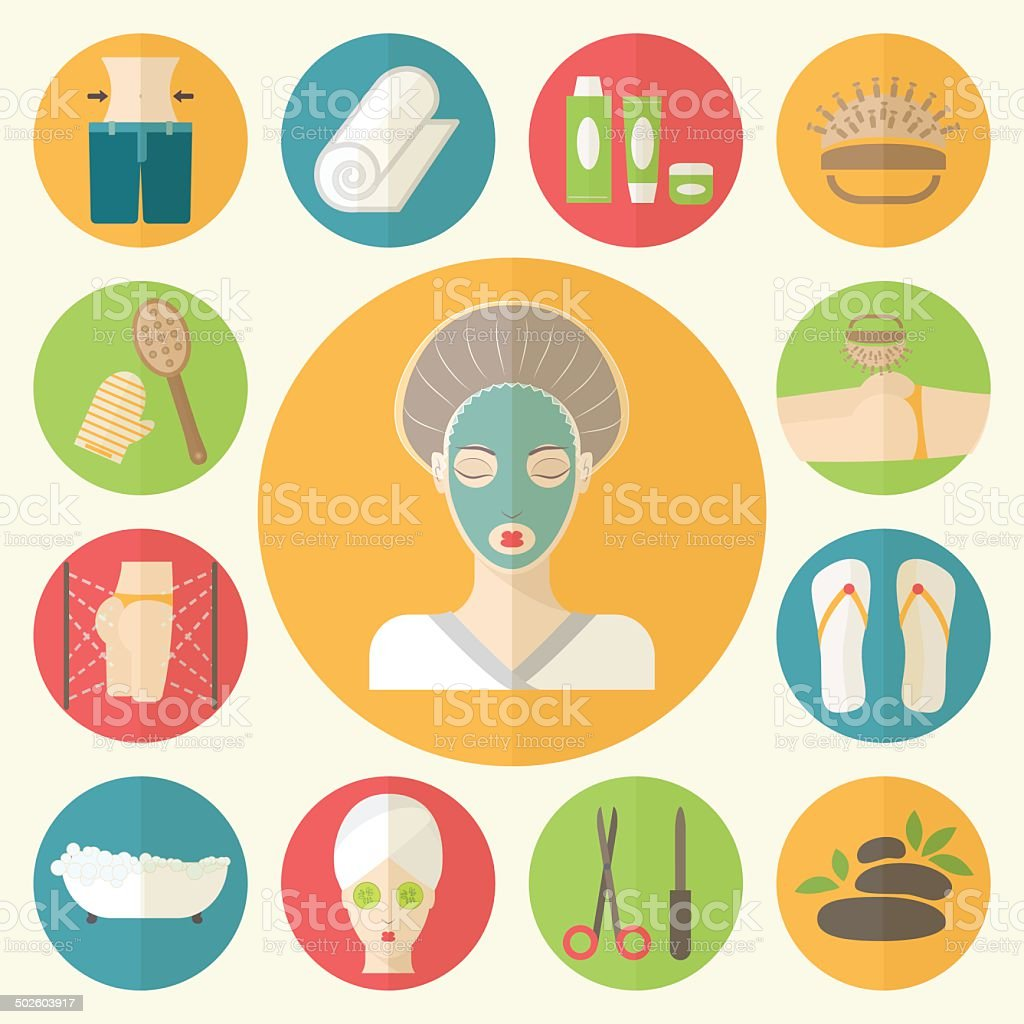 Woman in beauty, spa salon. Facial, body and hair care vector art illustration