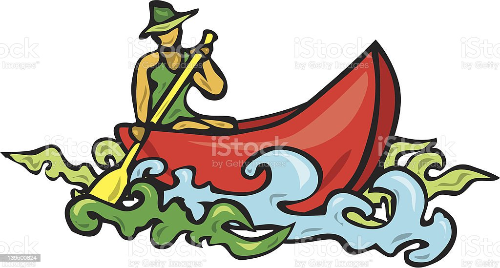 woman in canoe royalty-free stock vector art
