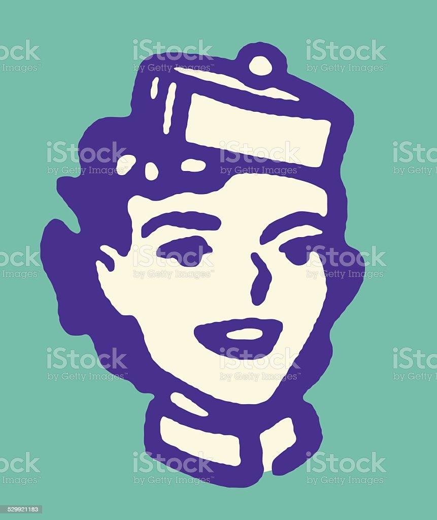 Woman in Cap vector art illustration