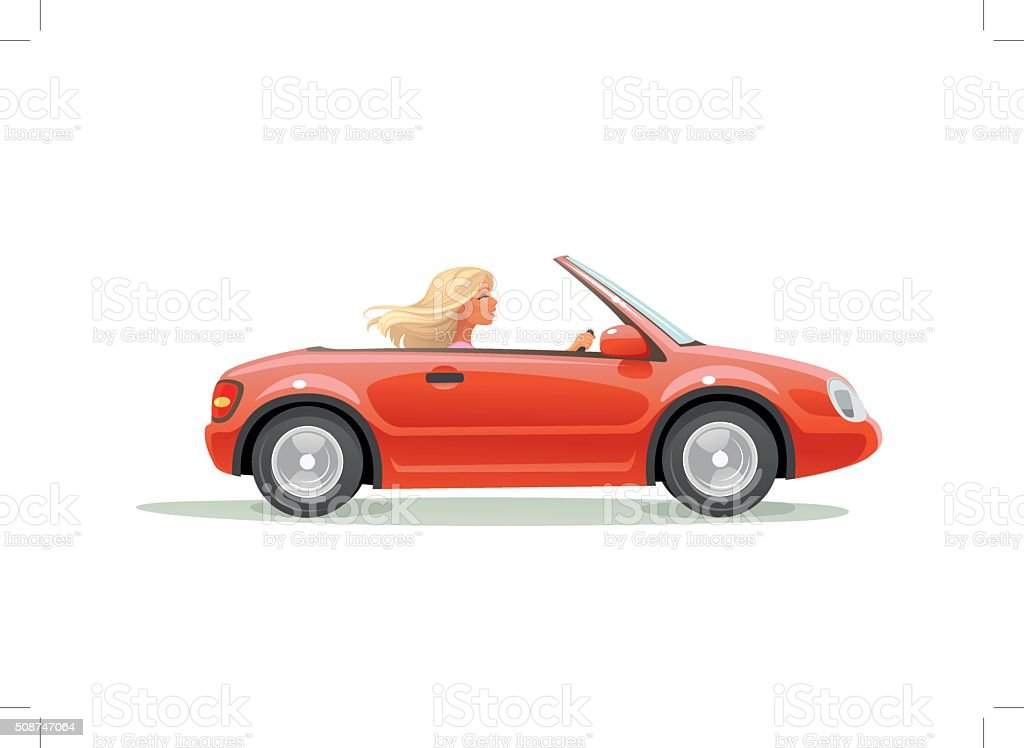 woman in car vector art illustration