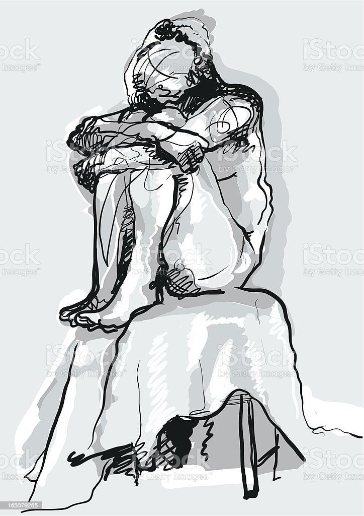 Woman in Despair vector art illustration
